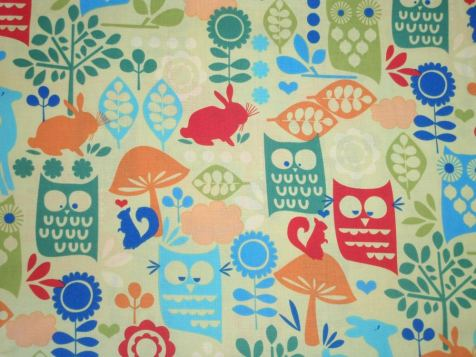 Waldtiere grün/rot/ € 17,- pro lfm./ 100% Organic Cotton / 114 cm breit