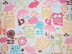 Waldtiere rosa/ € 17,- pro lfm./ 100% Organic Cotton / 114 cm breit