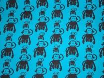 Jersey Affen blau / € 14,- pro lfm./ 85% Co 15% EL / 140 cm breit